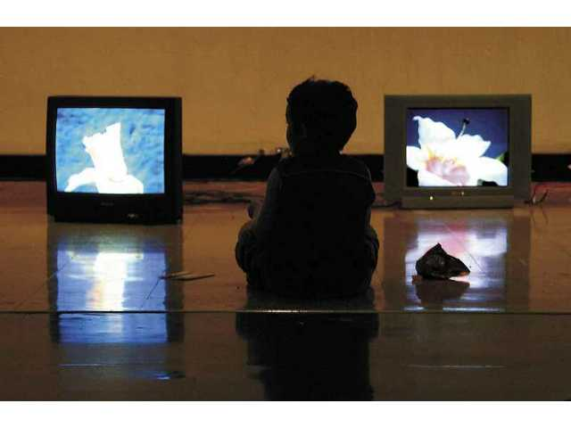 "Daniel Coro, 4, watches ""Shojoholic,"" a video compilation of flowers, while listening to music produced by the CAP sound engineering class, which produced music using computers."