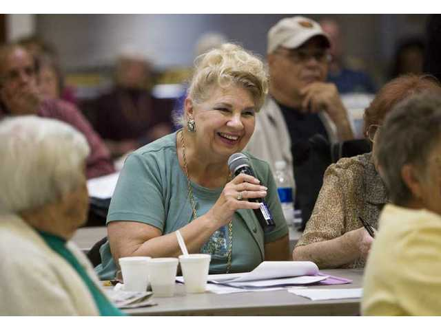 Zandra Cousins, of Santa Clarita, makes a comment during a two-hour county-hosted meeting at the SCV Senior Center to discuss the growing population of seniors Friday afternoon.