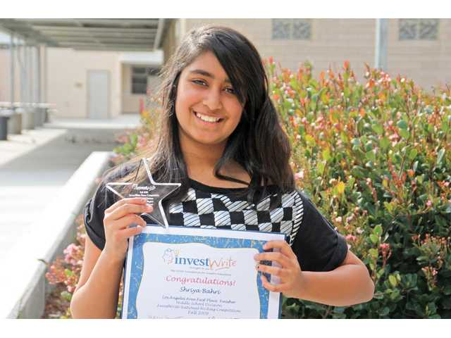 Rio Norte Junior High School seventh-grader Shriya Bahri recently won first place in the Los Angeles area for the middle school division as part of the InvestWrite essay competition produced by The Stock Market Game program. Through her Introduction to Computers class, Shriya was able to play the Stock Market Game, which allows youngsters to invest in companies and learn about trading and publicly traded companies.