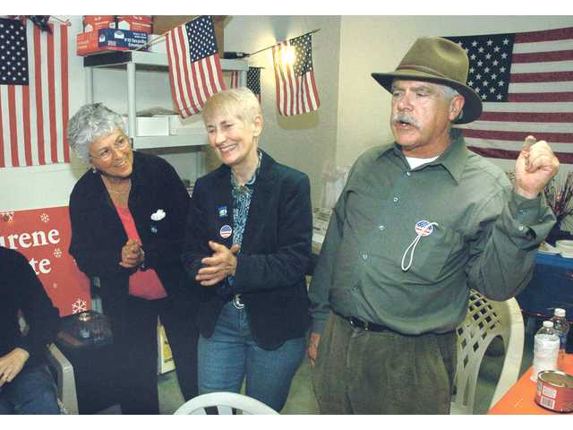 Mayor Laurene Weste, center, and her husband, Jim McCarthy, right, celebrate with Pat Willett during an election night party Tuesday.