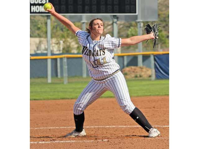West Ranch pitcher Amanda Martin winds up against Saugus Tuesday afternoon at West Ranch High.