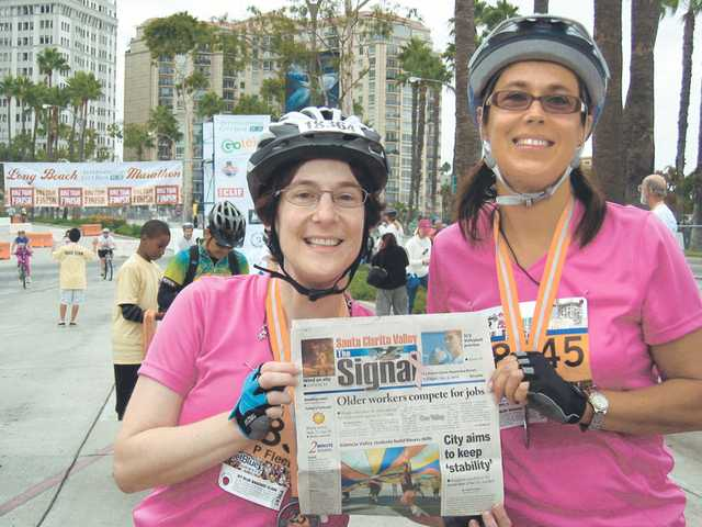 Patti Fleetwood and Jenifer Ketterling, both of Valencia, cycled in their first ever marathon in two hours, 20 minutes at the Long Beach Marathon on Oct. 11, 2009.