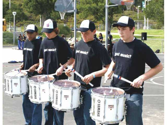 The Rio Norte Junior High School drum line practices before its March 14 competition.