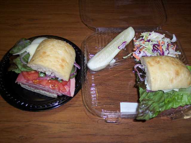 An Italian sub sandwich ($7.99) from Bristol Farms deli cafe. Sandwiches come with a pickle and a small side salad.