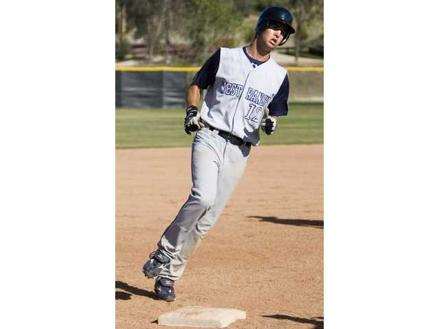 (Above) West Ranch's Jake Bernards rounds third base after a home run Friday at Saugus High.