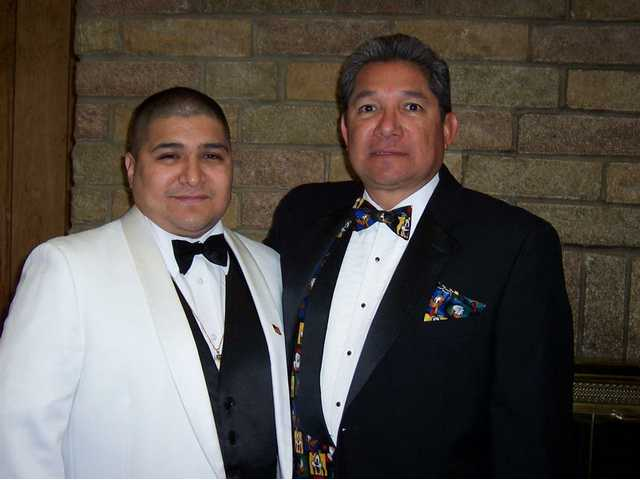 George Aguilar Jr., left, is the new Exalted Ruler of the Santa Clarita Elks Lodge. His father, right, is George Aguilar Sr., past Van Nuys Exalted Ruler.