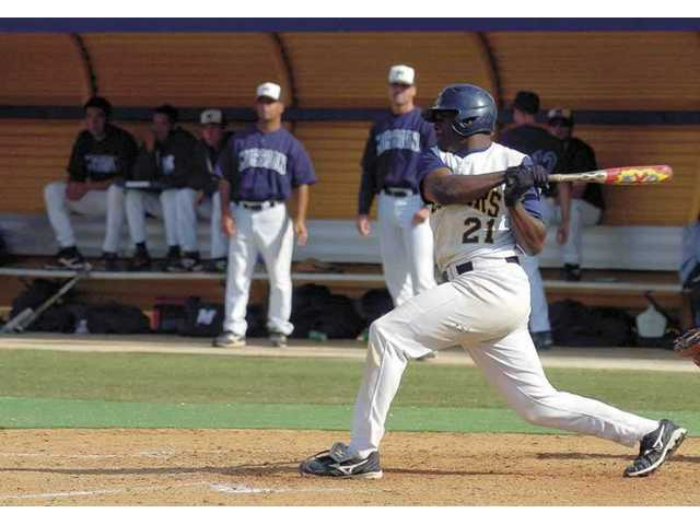 College of the Canyons left fielder Tyreace House bats in the second inning of the game against Los Angeles Mission College on Saturday. House was 3-for-4 and had two RBIs.