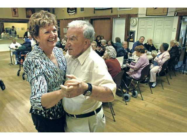 "Dorothy and Bernie Katz  dance to ""The Anniversary Song: Oh, How We Danced"" as they celebrate their third anniversary at the Senior Center on Wednesday."