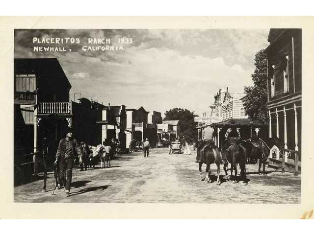 Main Street on the old Placeritos Ranch looked like this in 1935, depicted on a 1940s postcard. During the early '90s, Renaud and Andre Veluzat used images such as this as guides to restoring the street to its 19th-century look.