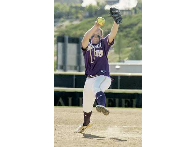 Valencia pitcher Carly Mortensen pitches against West Ranch at Valencia High Tuesday.