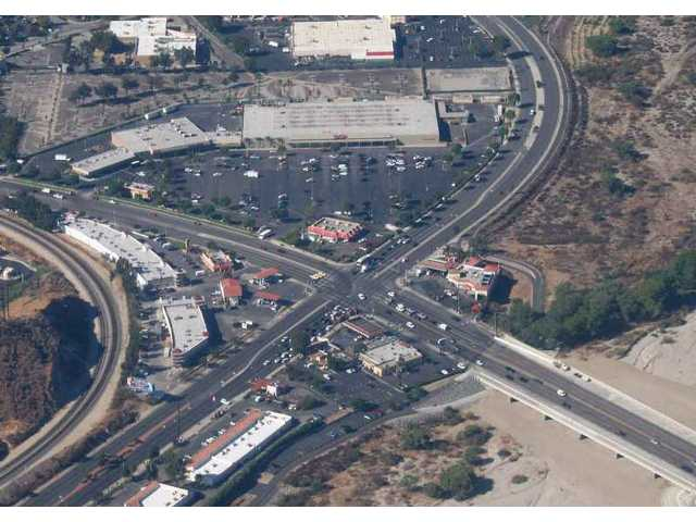 Crossroads: Bouquet Junction, the Santa Clarita Valley's busiest intersection, looked like this in October 2006, prior to completion of lane and bridge improvements. The view is to the southwest.