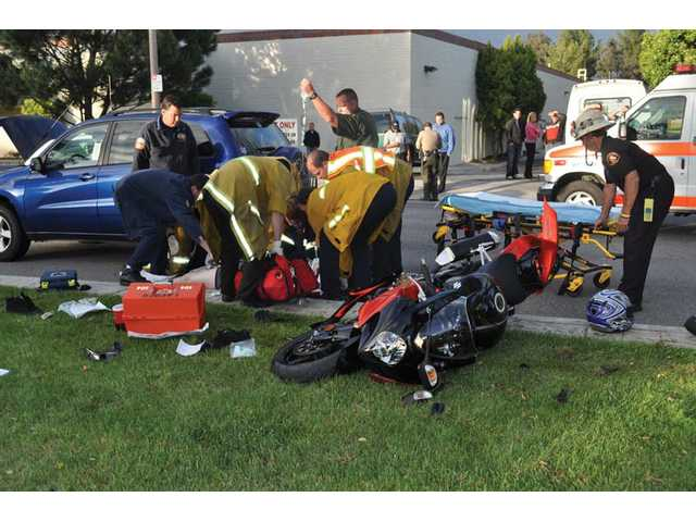 An off-duty sheriff's deputy was critically injured in a motorcycle collision on McBean Parkway around 6:30 p.m. on Wednesday. Emergency personnel took Deputy Cameron Glover to Henry Mayo Newhall Memorial Hospital, where he later died.