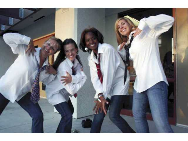 "From left are health teacher Terri Sage, Spanish teacher Holly Martin, Yvonne Harper, and history teacher Danielle Lahey. They danced to ""Feedback"" by Janet Jackson at the benefit performance for the Yes I Can program."
