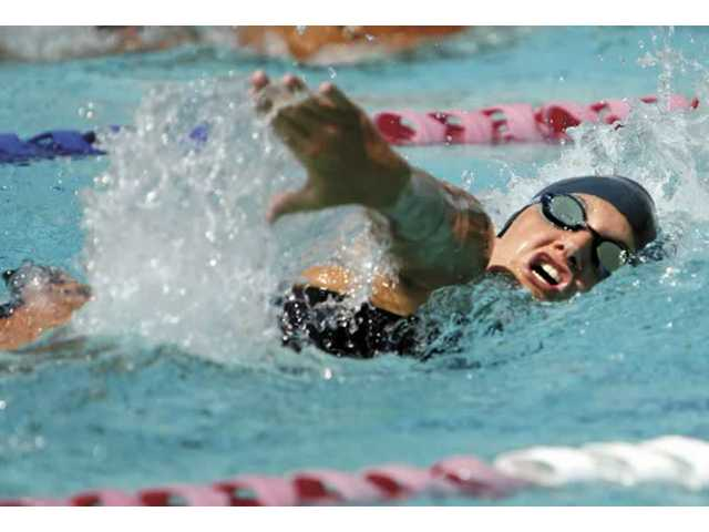 Saugus swimmer Shelby Green competes in heat two of the 200 yard freestyle at the Foothill League preliminaries. Sixteen swimmers in each varsity event advanced to Thursday's league finals at the Santa Clarita Aquatic Center.