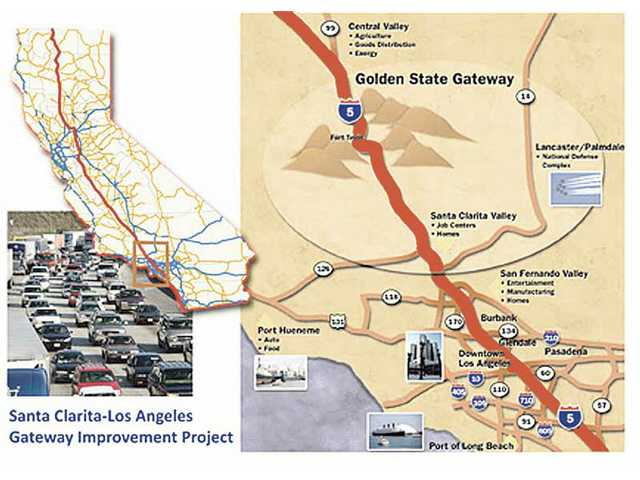 "An illustration shows the section of Interstate 5 that Congressman Howard P. ""Buck"" McKeon is proposing to upgrade in an effort to reduce traffic jams."