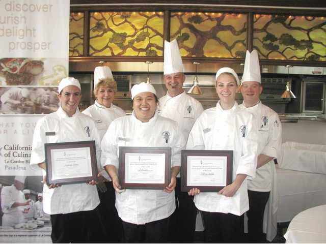 Winners of the Le Cordon Bleu Schools Market Basket Competition: Right to left, front row, are: Kayleigh Morton, of Canyon Country, who placed second, Anna Lee, the first place winner and Kathryn Graham, of Canyon Country, who placed third. Back row: CSCA Chef Instructors Terrie Beal, Daniel Rossi and Joshua Orlando.