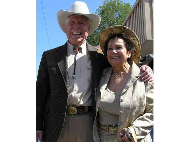 "Jack and Clare (""Goodie"") Williams were all smiles April 29, 2005, when the legendary stuntman's saddle plaque was unveiled on what is now Main Street in Old Town Newhall."