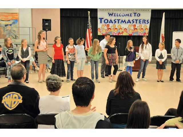 Students from the Saugus Union School District speak at the district's Toastmasters Speech Contest on April 22. One student from each of the district's 15 elementary schools gave speeches on topics like pop culture, politics and social issues.