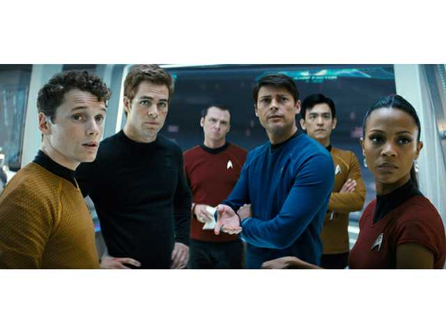 "From left, Anton Yelchin as Chekov, Chis Pine as James T. Kirk, Simon Pegg as Scotty, Karl Urban as Bones, John Cho as Sulu and Zoe Saldana as Uhura are shown in a scene from, ""Star Trek."""