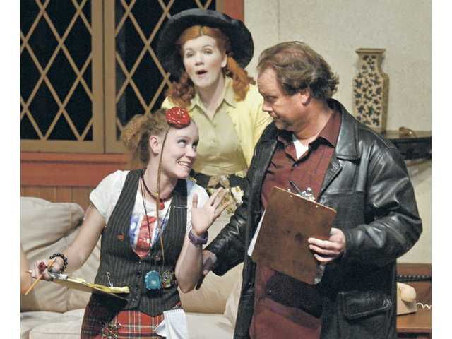 "Left to right, Wednesday Hobson, Melanie Wahla and Stephen Whelan in ""Noises Off"" on stage at COC."