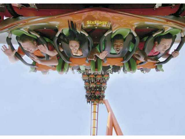 Thrill-seekers get their kicks on Tatsu, one of Six Flags Magic Mountain's most exciting roller coasters.