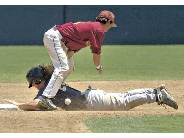 Dan Watson/The SignalSaddleback College's Sean Parvin, top, drops the ball as College of the Canyons' Trevor Bloom slides safely into second base Saturday at College of the Canyons. The Cougars' season ended in a 6-4 loss.