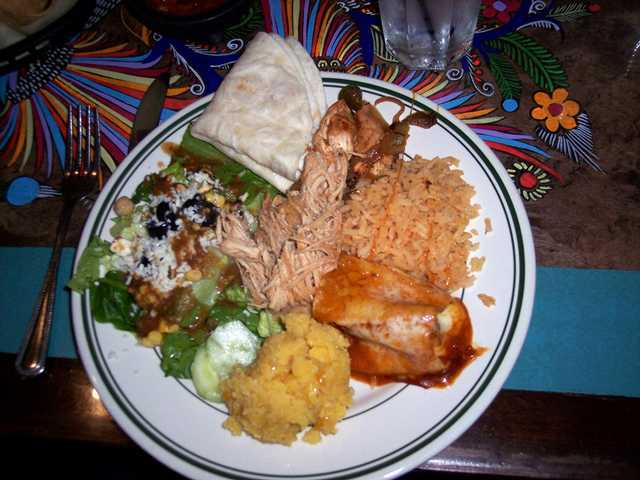 The lunch buffet at Margaritas Mexican Grill offers more possible combination plates than the average person can imagine. Above, salad, rice, chicken and enchiladas share space on the plate.