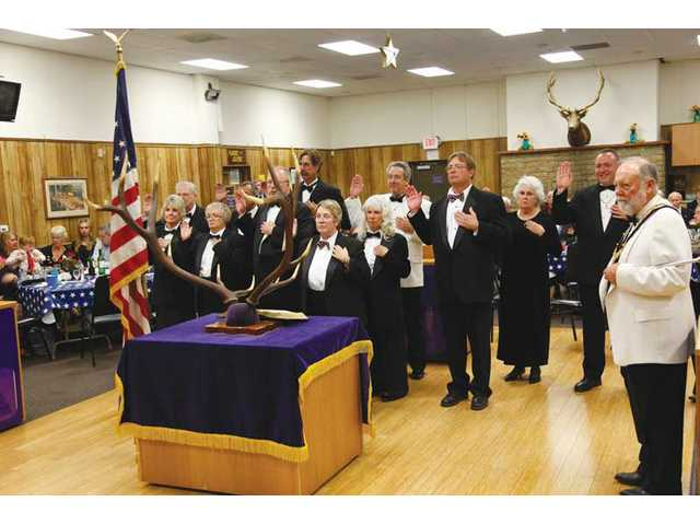 Newly installed officers of the Elks Lodge at ceremony.