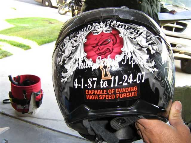 The message on Joseph Milhoan's motorcycle helmet will need an update.