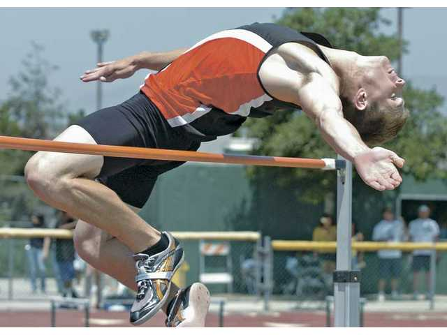 Hart's Ted Glasnow competes in the high jump Saturday at the CIF-Southern Section Division II Track and Field Prelims held at Moorpark High.