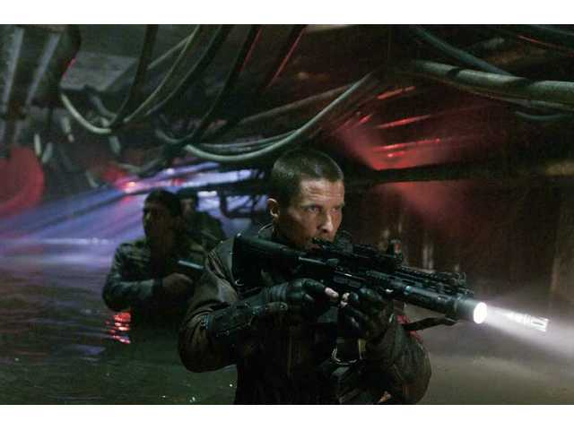 "Christian Bale is shown in a scene from the Warner Bros. film ""Terminator Salvation,"" which opens today."