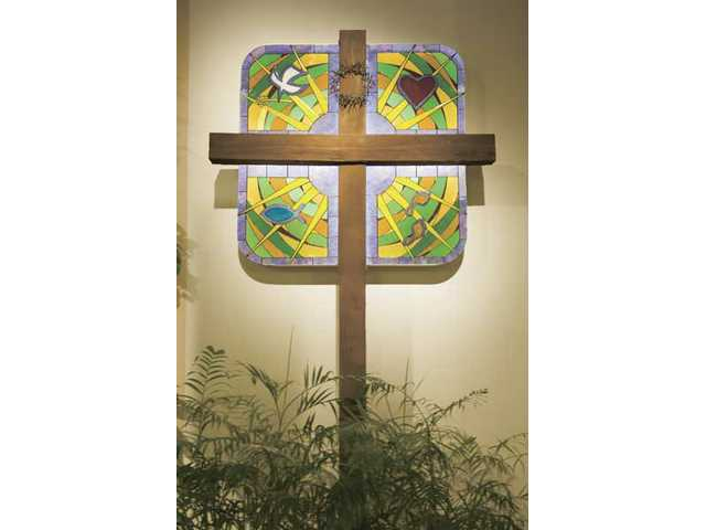 The new stained-glass window created by Tom Bailey for the First Presbyterian Church in Newhall.