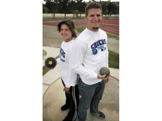 Saugus track and field stars Heather Snyder and Daniel Swarbrick took CIF titles in discus and shot put, respectively, now they will participate in the Masters Meet at Cerritos College on Saturday.