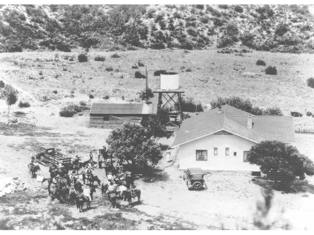A picture of Harry Carey Jr.'s famous Tesoro Adobe Historic Park in 1945.