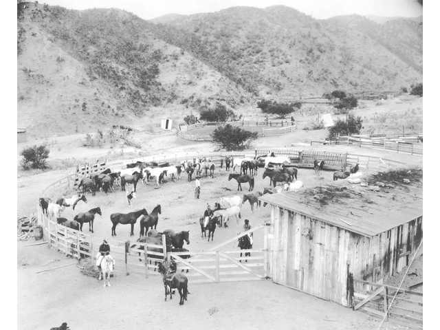 Harry Carey Jr.'s land, now known as Tesoro Adobe Historic Park, is shown in this 1945 picture as a fully functional ranch.