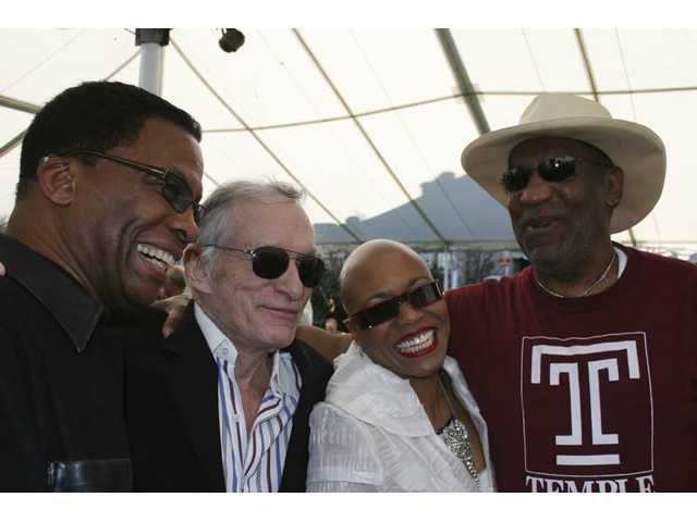 From left, 30th anniversary headliner Herbie Hancock, festival exec producer Hugh Hefner, headliner Dee Dee Bridgewater and emcee Bill Cosby enjoy a laugh at the Playboy Mansion, where this year's festival lineup was unveiled in February.
