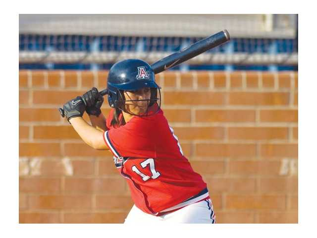 Arizona sophomore second baseman Victoria Kemp prepares for the pitch against Yavapai on Sept. 27.