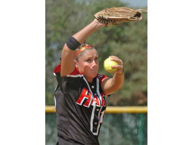 Hart senior pitcher Destiny Rodino throws against Moorpark High on May 26 in the second round of the CIF-Southern Section Division I playoffs.