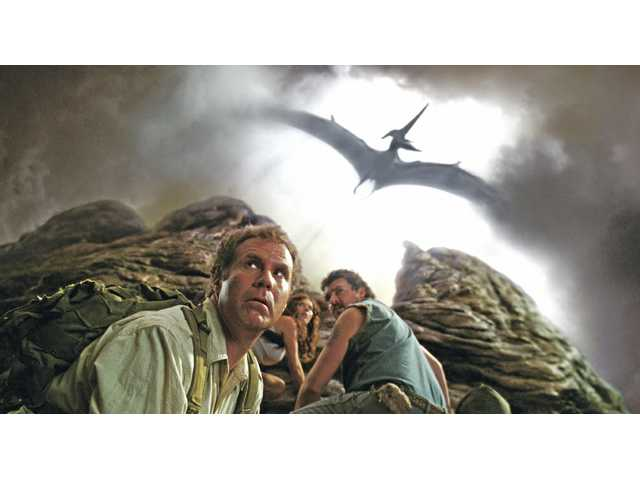"Will Ferrell, left, as Rick Marshall, Anna Friel as Holly and Danny R. McBride as Will Stanton in ""Land of the Lost."