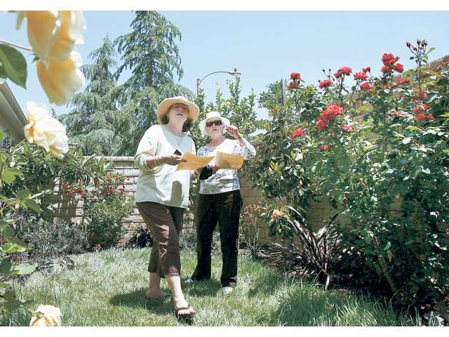 Diane Eggers, left, and her mother Carol Parillo admire the roses at the home of David and Laima Abojniewicz of Valencia as they enjoy a self guided tour of the eight Santa Clarita  homes of the Memorial Garden Tour which accepted donations to benefit the T.A.P.S. and Wounded Warrior Project on June 7.