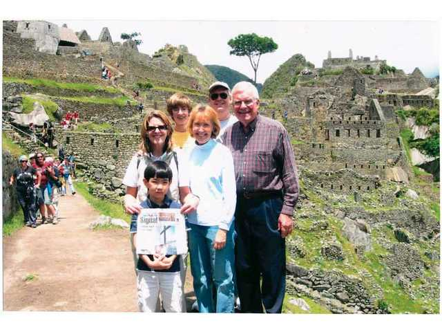 The Bowmans traveled to Peru where they visited thr ruins of Machu Picchu -- with The Signal. From left are Bill, Suzanne, Chuck, Lynn, Patrick and Reid Bowman.