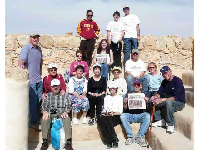 This group of Santa Clarita Valley-ites took The Signal to the top of Masada in Israel. From left: Rabbi Mark Blazer, Cary Dermer, Jackie Dermer, Bonnie Horwitz, Heddy Greenfield, Alex Schwartz, Linda Covette, Marcey Goldstein, Max Schwartz, Harriet Schier, Barbara Seigle, Gene Horwitz, John Heitmann, Robert Schwartz, Carolyn Heitmann and Marvin Thau.