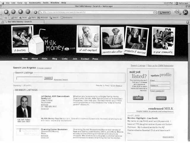 A screen shot from www.ourmilkmoney.com shows the homepage. From there, users can search the directory of 1,500 businesses run by self-employed parents to find the services they need.