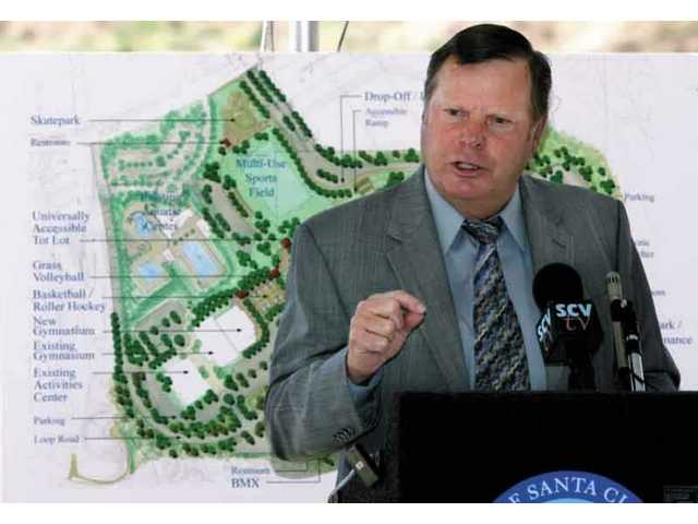 Mayor Bob Kellar speaks during the groundbreaking for the $25 million Phase 4 of the Santa Clarita Sports Complex Thursday morning.