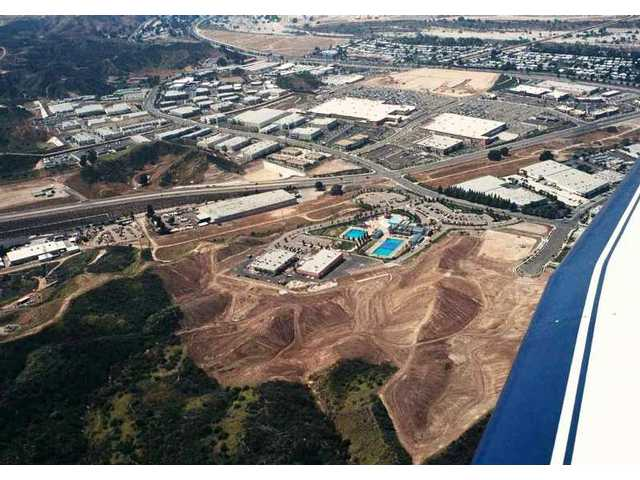 In this April 2008 aerial view to the west-northwest, the Santa Clarita Sports Complex and Aquatics Center are in the foreground. Grading had already begun prior to the official Phase 4 groundbreaking ceremony Thursday morning.