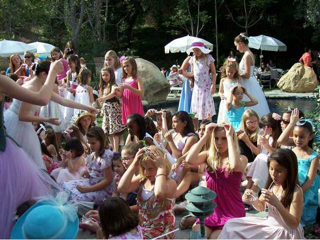 Each little girl who attended the Tippy Toes Tea fundraiser for the Santa Clarita Ballet Company received a small tiara like those worn by ballerinas. Members of the company, in costume, presented the tiaras to the girls.