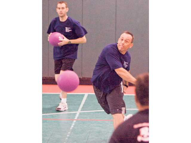 Newhall Area Dodgeball Squad (N.A.D.S.) member Bruce Turnn plays with other local CHP officers during the Western States Police & Fire Games. Out of 18 teams participating, N.A.D.S received the second-place trophy.