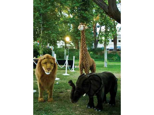Oversized stuffed animals from FAO Schwartz were part of a package that was the final item at the live auction.