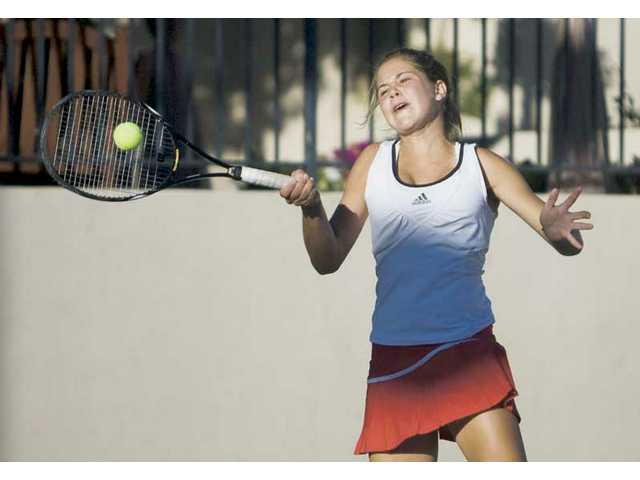Hart's Anne Susdorf hits a return during the Foothill League finals on November 6 at Paseo Club. Susdorf went undefeated against league opposition to win the singles title and fell in the second round of the CIF-Southern Section Individual Tennis Championships.