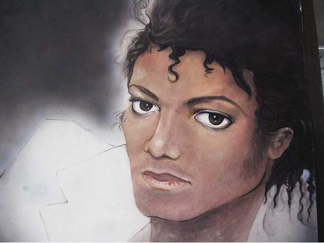 Gloria Locke painted this portrait of Michael Jackson as a tribute to the artist who died Thursday.